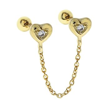 Yellow Gold Tone Cubic Zirconia Double Heart Ear Chain Stud - Product number 3043983