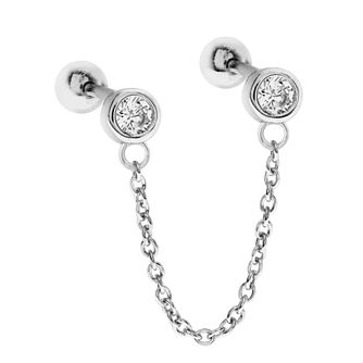 Silver Cubic Zirconia Double Round Ear Chain Stud - Product number 3043991