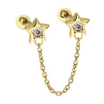 Yellow Gold Tone Cubic Zirconia Double Star Ear Chain Stud - Product number 3044017