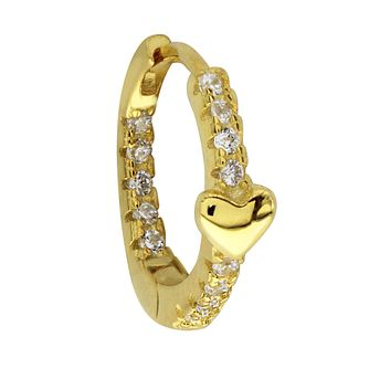 Yellow Gold Plated Cubic Zirconia Heart Ear Cartilage Ring - Product number 3044076
