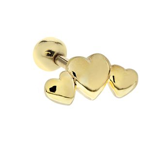 Yellow Gold Plated Triple Heart Tragus Ear Stud - Product number 3044149