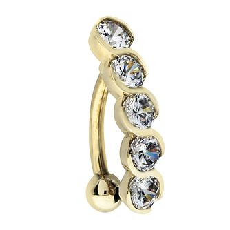 9ct Yellow Gold 5 Cubic Zirconia Stones Belly Bar