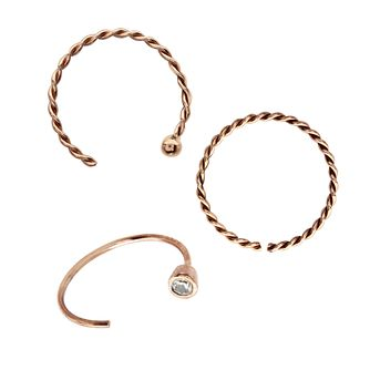 9ct Rose Gold Nose Hoop Set Of 3 - Product number 3044246