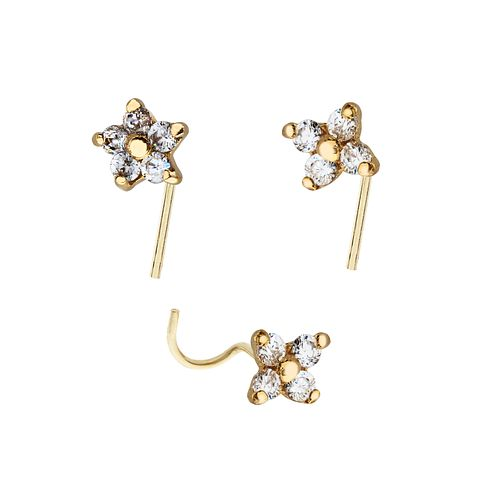 Yellow Gold Plated Cubic Zirconia Flower Nose Stud Set Of 3 - Product number 3044254