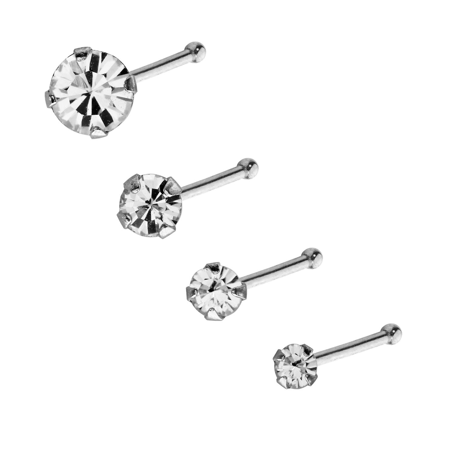 9ct White Gold Stone Set Round Nose Stud Set - Product number 3044262
