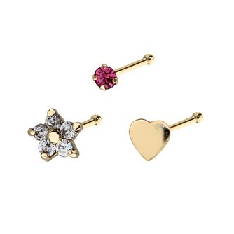9ct Yellow Gold Flower, Heart & Round Nose Stud Set Of 3 - Product number 3044270