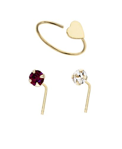 9ct Yellow Gold Nose Heart Hoop, Pink & White Stud Set Of 3 - Product number 3044335