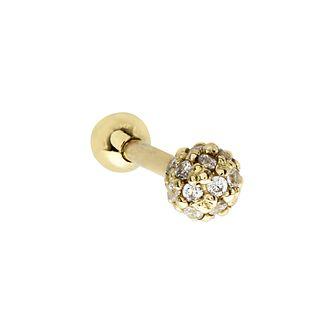 9ct Yellow Gold Cubic Zirconia Small Sphere Tragus Ear Stud - Product number 3044416