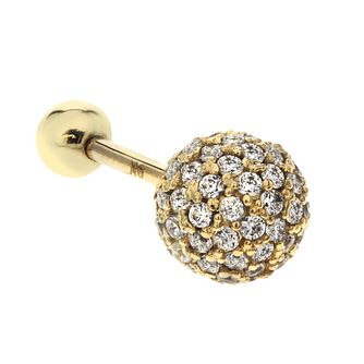 9ct Yellow Gold Cubic Zirconia Large Sphere Tragus Ear Stud - Product number 3044424