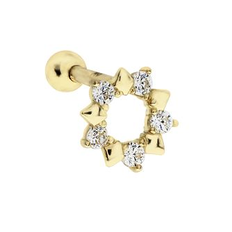 9ct Yellow Gold Cubic Zirconia Open Circle Tragus Ear Stud - Product number 3044459