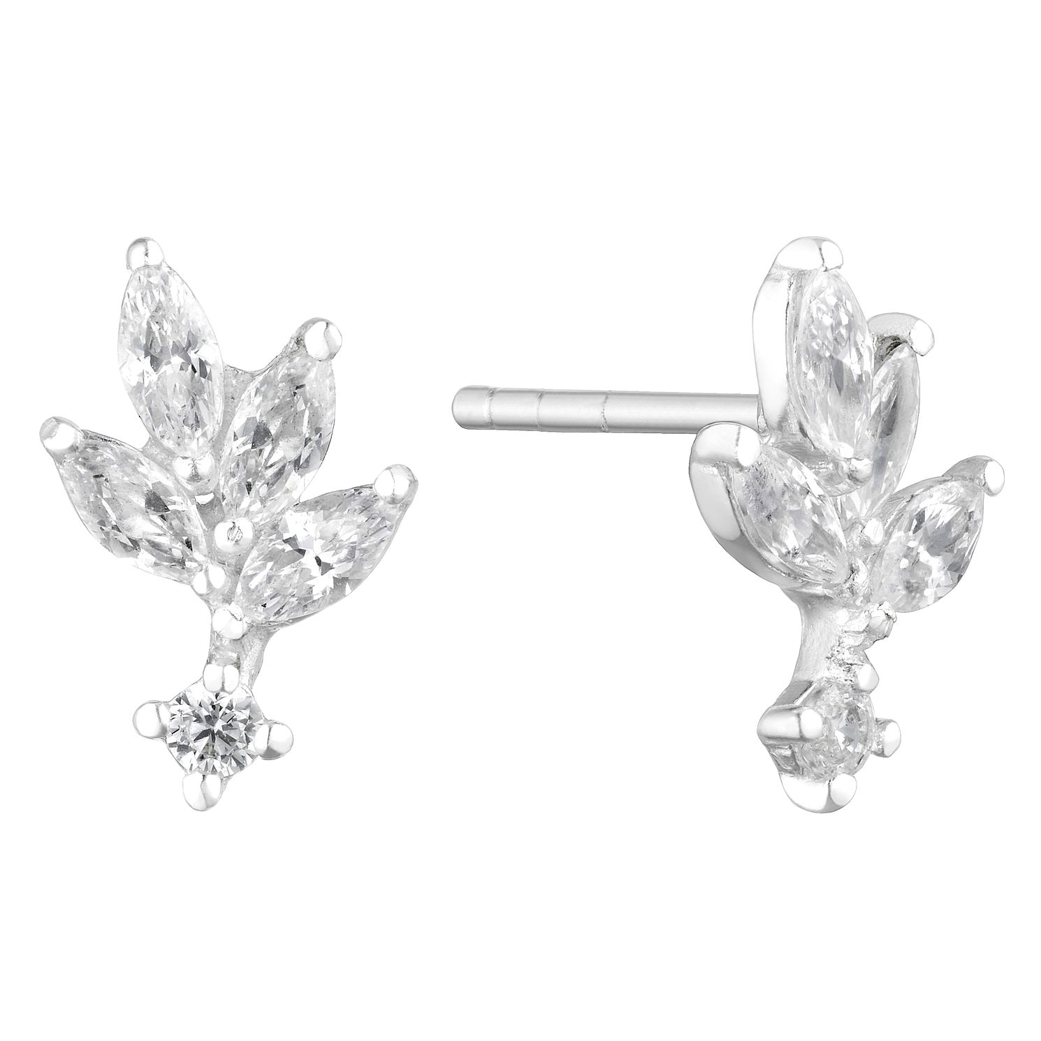 Silver Cubic Zirconia Leafy Stud Earrings - Product number 3044807