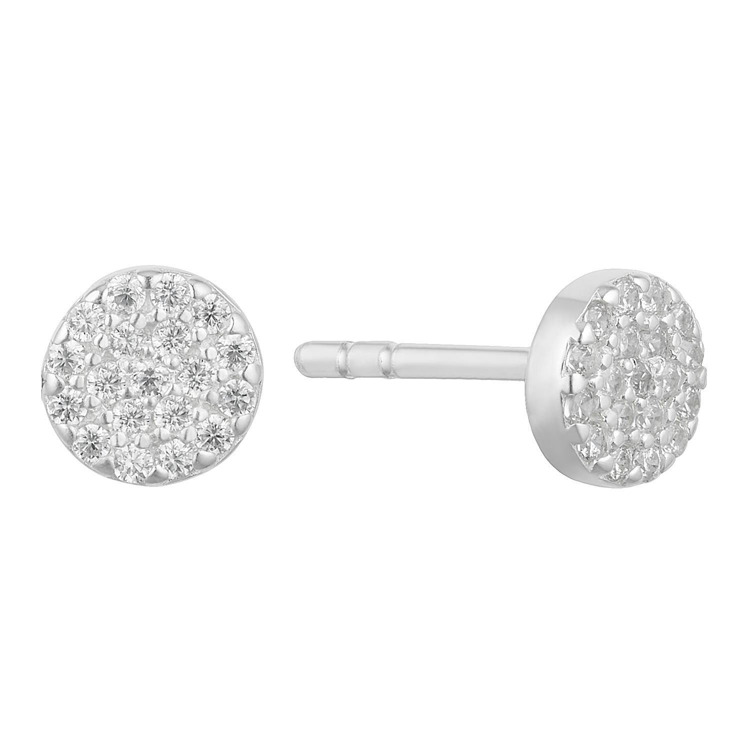 Silver Cubic Zirconia Round Stud Earrings - Product number 3045099