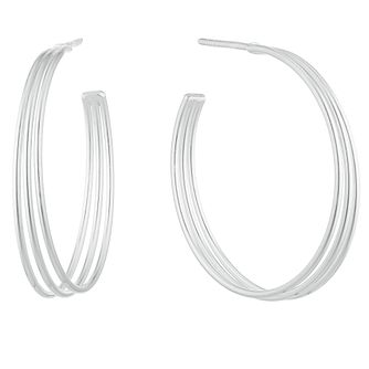 Silver Plain 3 Line Half Hoop Earrings - Product number 3045455