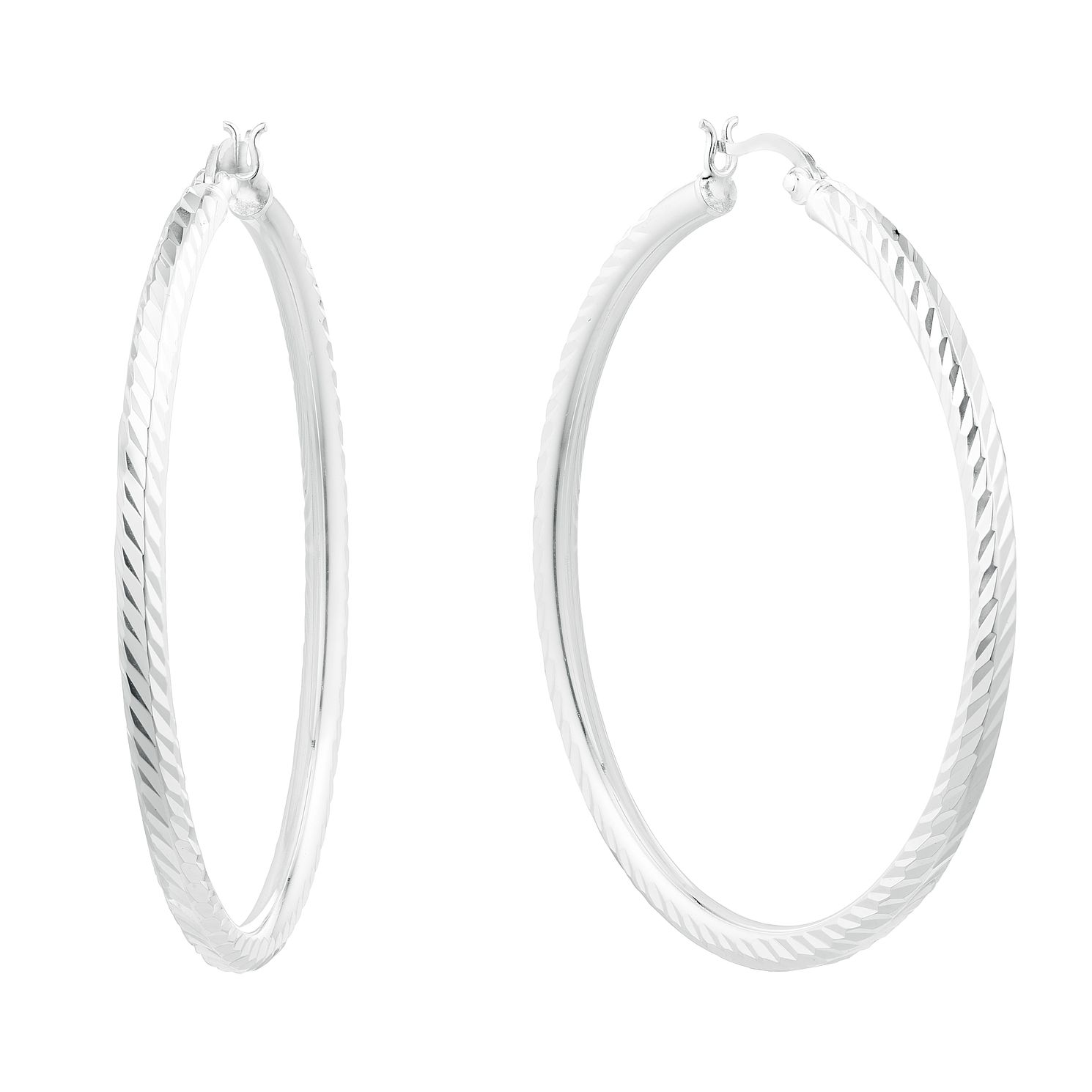 Silver Diamond Cut 45mm Creole Hoop Earrings - Product number 3045498