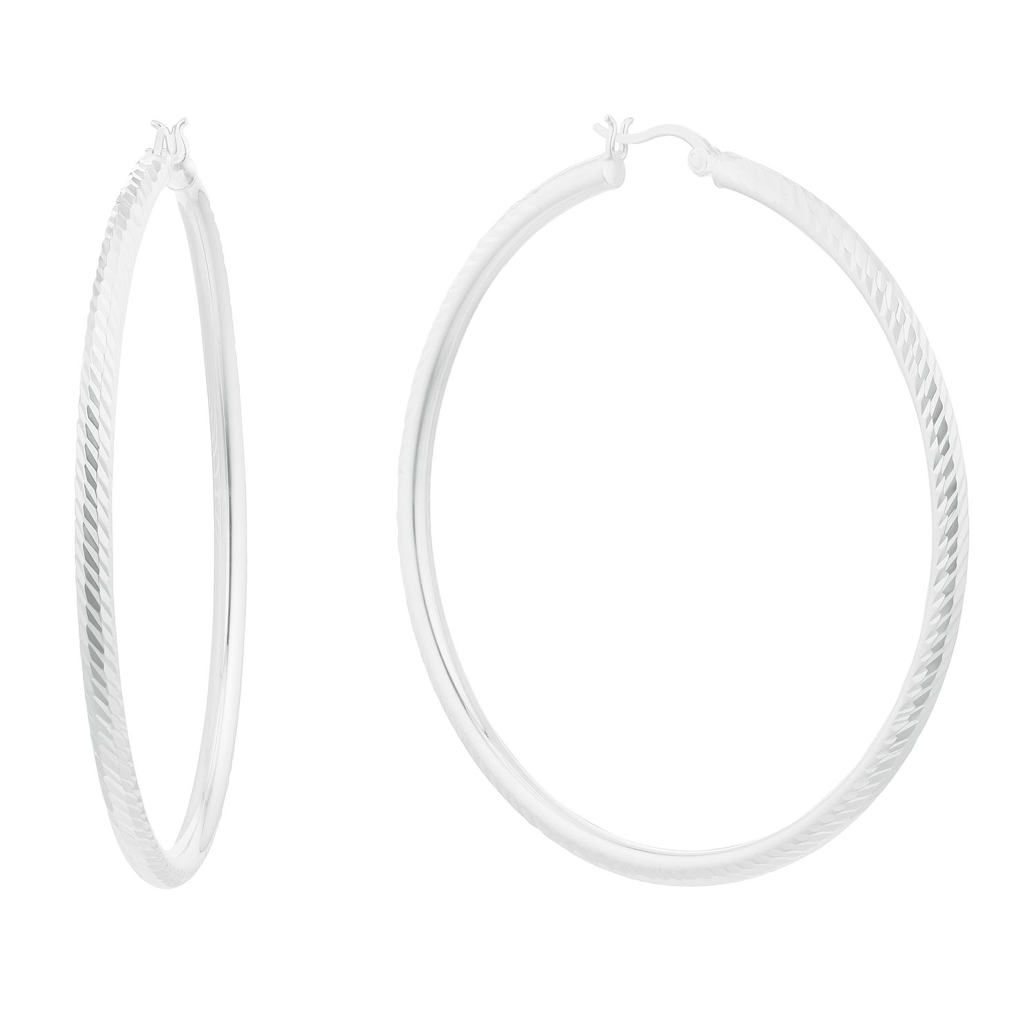 Silver Diamond Cut 55mm Creole Hoop Earrings - Product number 3045552