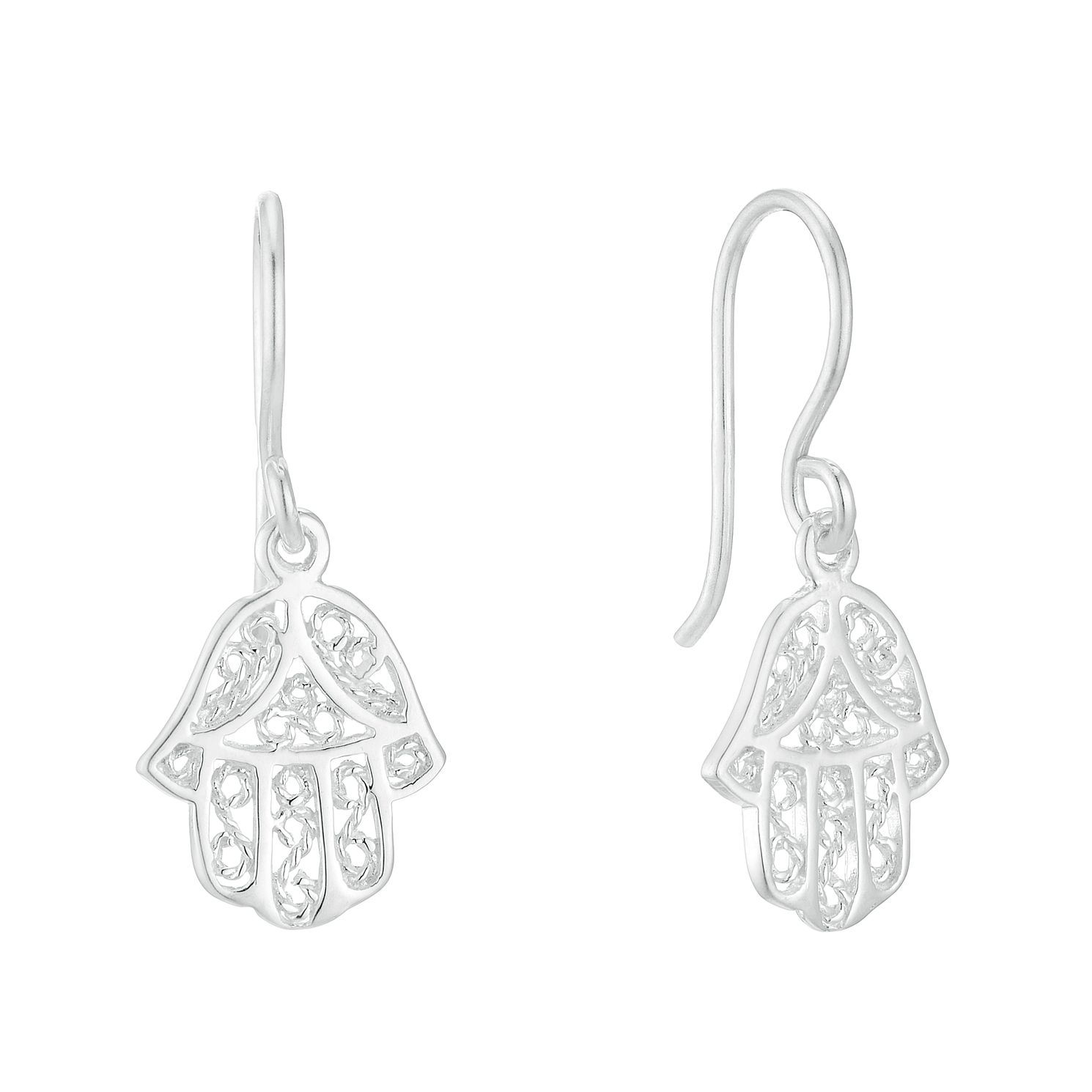 Silver Hamsa Hand Drop Earrings - Product number 3045579