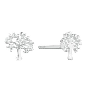 Silver Plain Tree Of Life Design Stud Earrings - Product number 3045595
