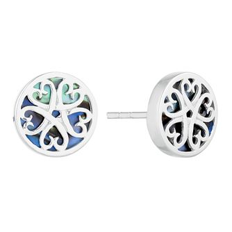 Silver Abalone Round Filigree Stud Earrings - Product number 3045943