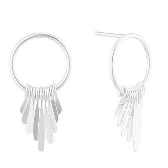 Silver Plain Wire Tassles Hoop Drop Stud Earrings - Product number 3045951