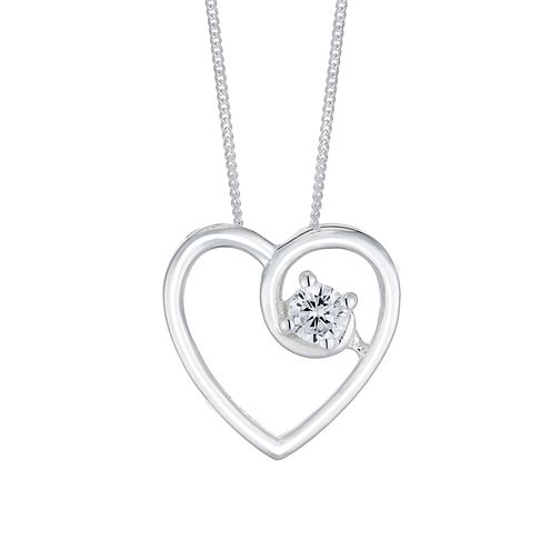 Silver Cubic Zirconia Twisted Open Heart Pendant - Product number 3046192