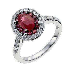 18ct white gold ruby & 0.50ct diamond oval ring - Product number 3046389