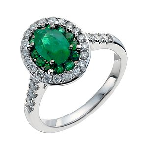 18ct white gold oval emerald & 0.50ct diamond ring - Product number 3046516