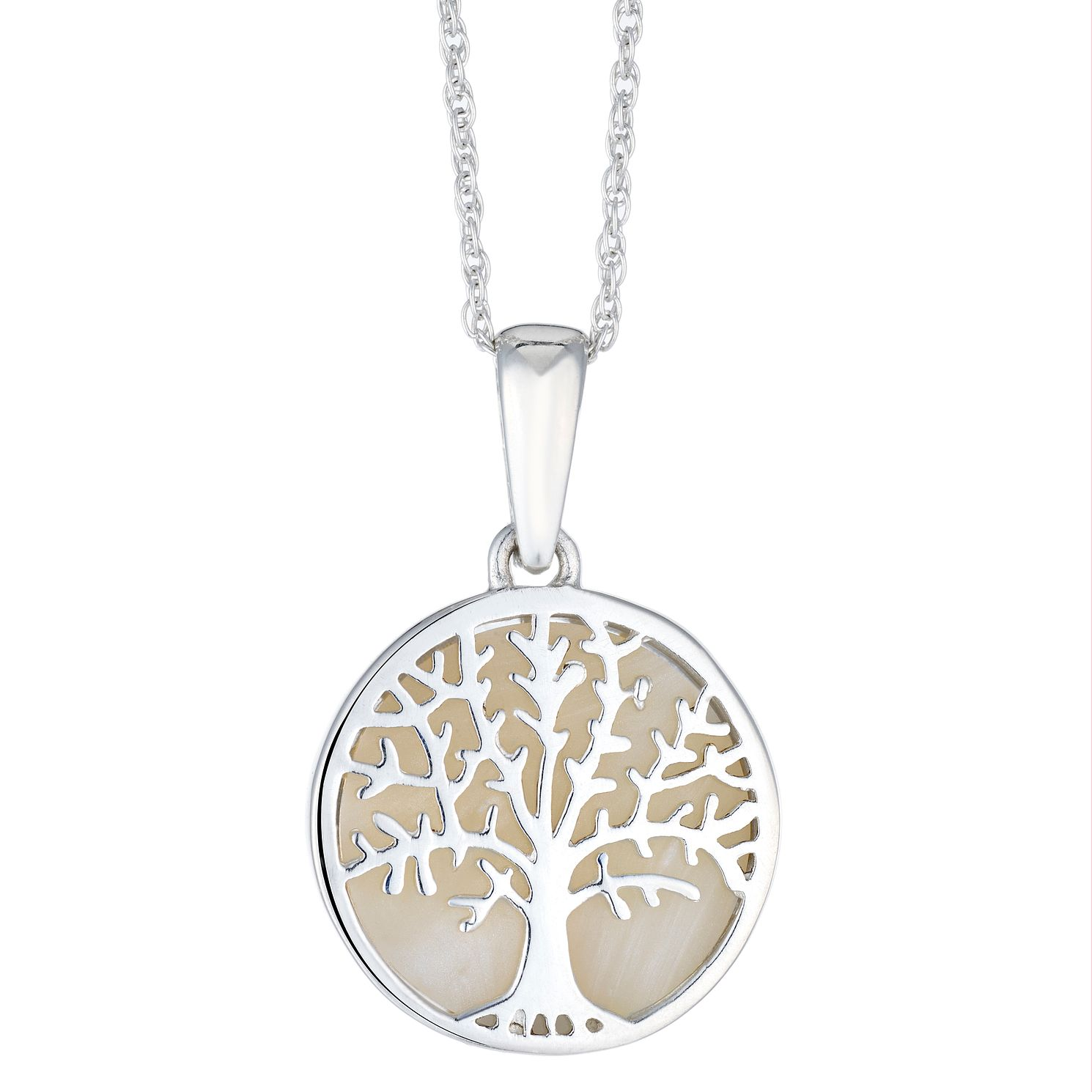 Silver Mother Of Pearl Tree Of Life Design Disc Pendant - Product number 3046974
