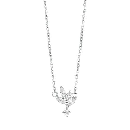 Silver Cubic Zirconia Leaf Necklace - Product number 3046990