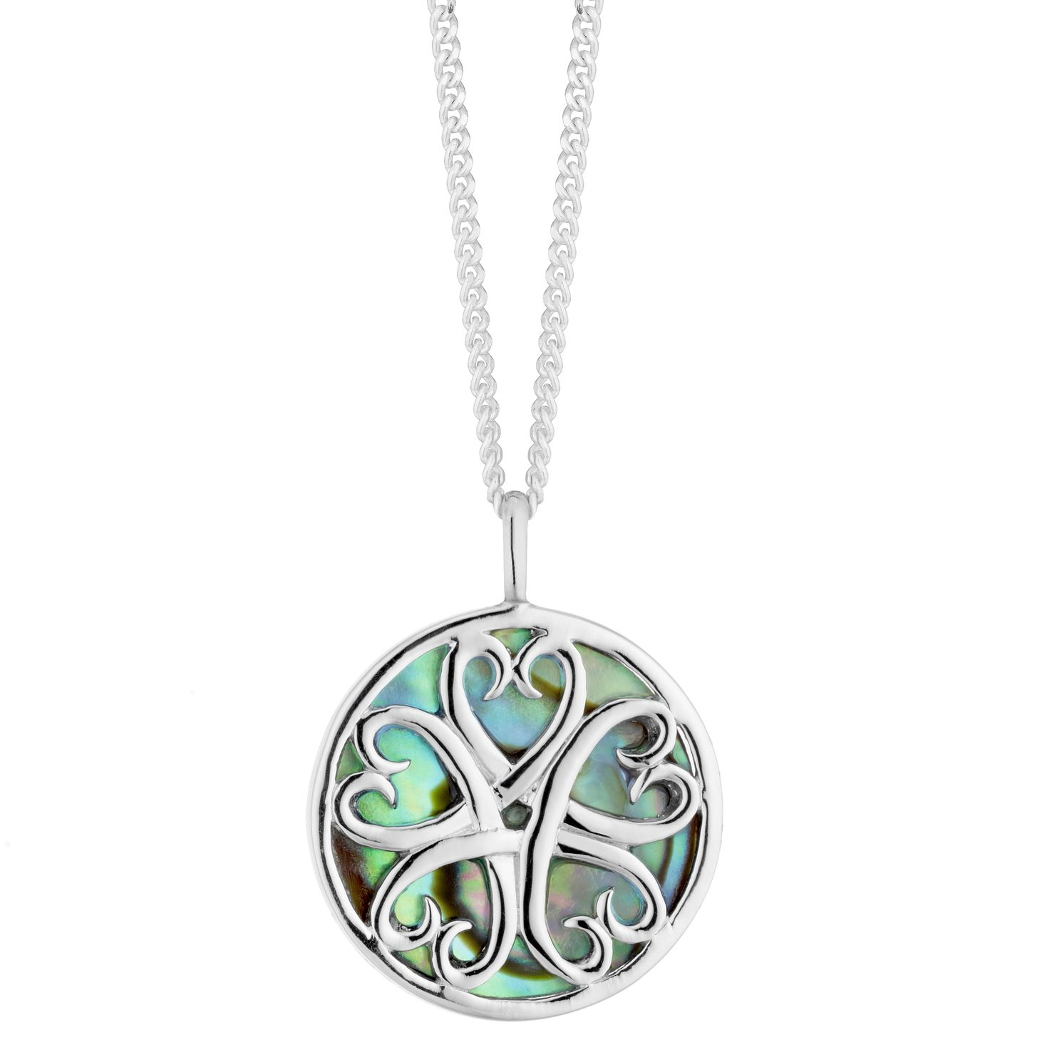 Silver Abalone Round Filigree Pendant - Product number 3047059