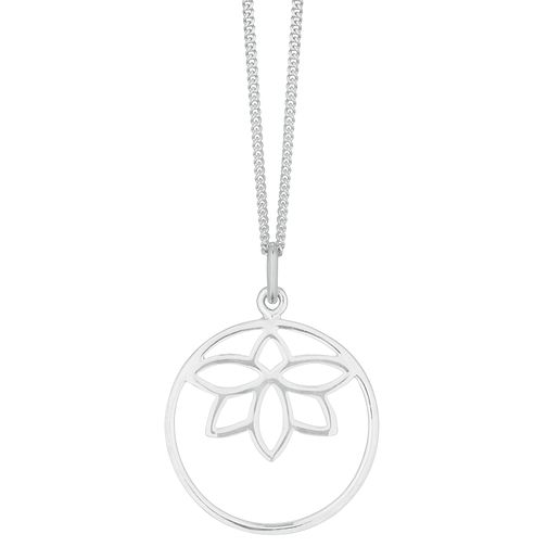 Silver Open Circle Lotus Pendant - Product number 3047067