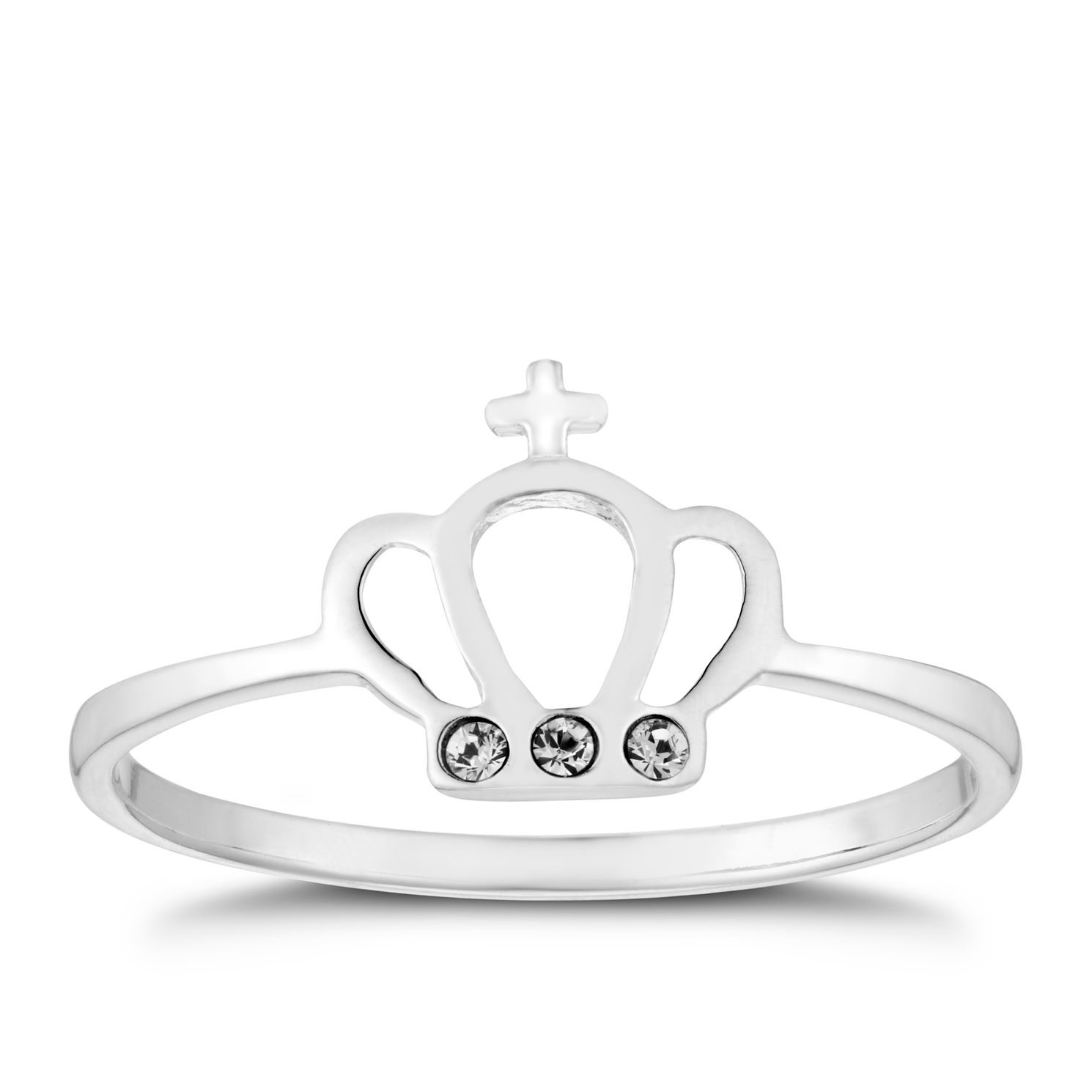 Silver Crystal Set Crown Ring - Size N - Product number 3047512