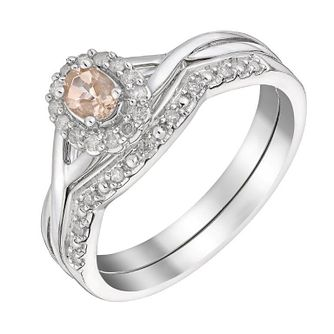9ct White Gold Morganite & Diamond Perfect Fit Bridal Set - Product number 3048152