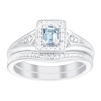 Perfect Fit 9ct White Gold Aquamarine & Diamond Bridal Set - Product number 3048349