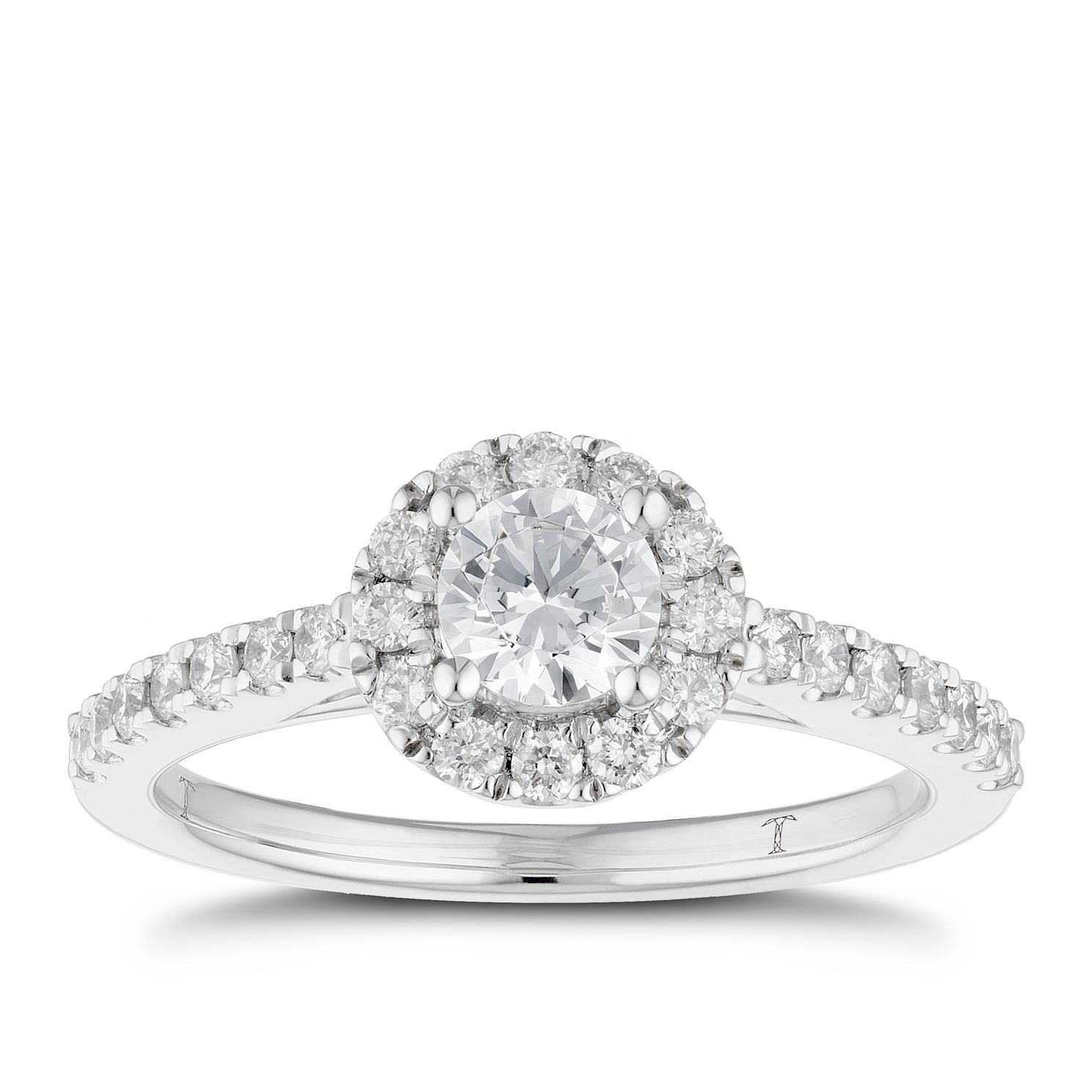 Tolkowsky Platinum 0.77ct I-I1 Diamond Halo Ring - Product number 3051218