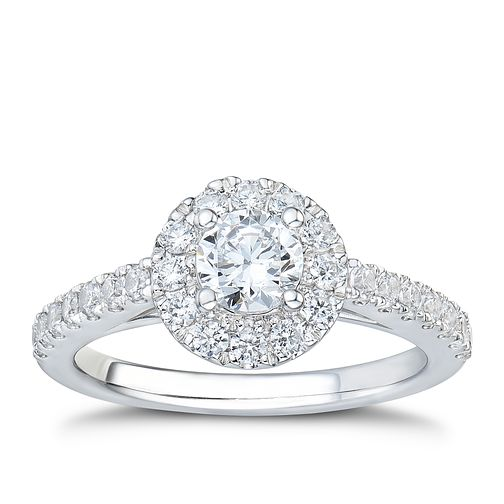 Tolkowsky platinum 1ct I-I1 diamond halo ring - Product number 3051390