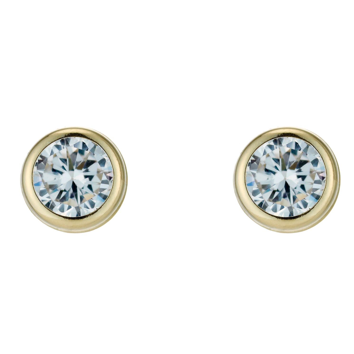 9ct Yellow Gold Cubic Zirconia Rubover 5mm Stud Earrings - Product number 3054470