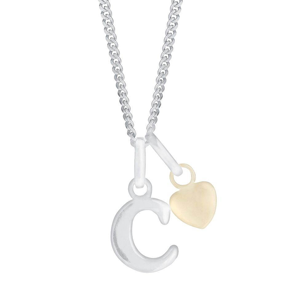 Silver & 9ct Yellow Gold Children's C Initial Pendant - Product number 3054896
