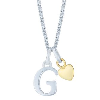 Silver & 9ct Yellow Gold Children's G Initial Pendant - Product number 3054942