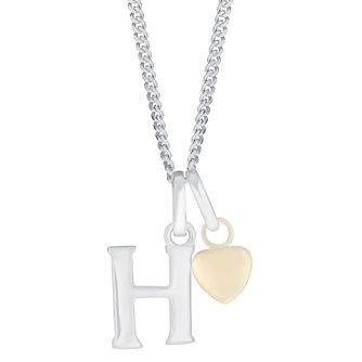 Silver & 9ct Yellow Gold Children's H Initial Pendant - Product number 3054950