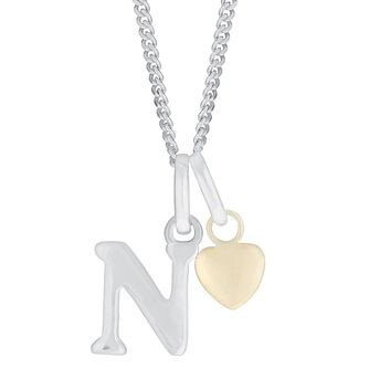 Silver & 9ct Yellow Gold Children's N Initial Pendant - Product number 3055000