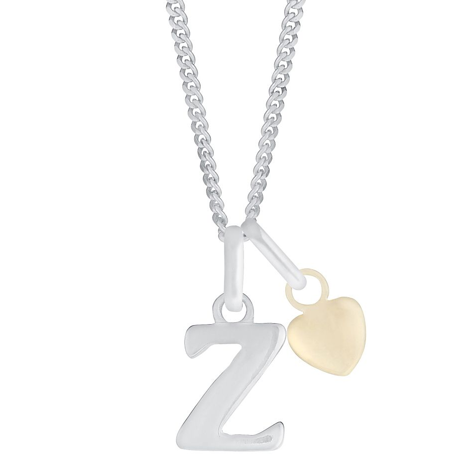 Silver & 9ct Yellow Gold Children's Z Initial Pendant - Product number 3055132