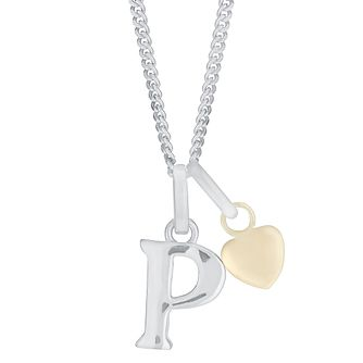 Silver & 9ct Yellow Gold Children's P Initial Pendant - Product number 3055310