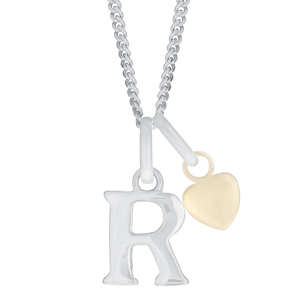 Silver & 9ct Yellow Gold Children's R Initial Pendant - Product number 3055337