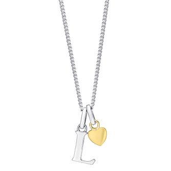 Silver & 9ct Yellow Gold Children's L Initial Pendant - Product number 3055809