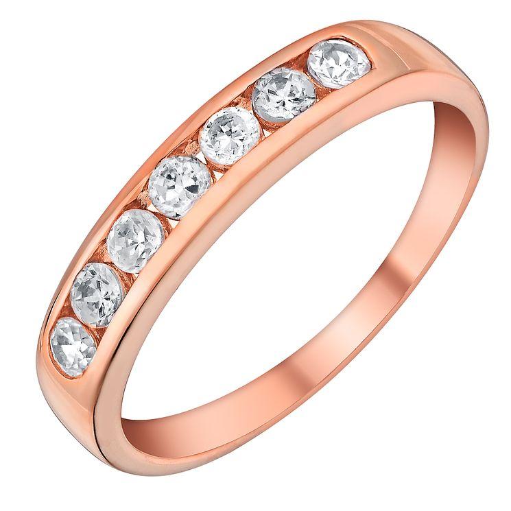 9ct Rose Gold & Cubic Zirconia Eternity Ring