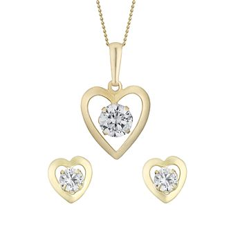 9ct Yellow Gold & Cubic Zirconia Heart Earring & Pendant Set - Product number 3057127