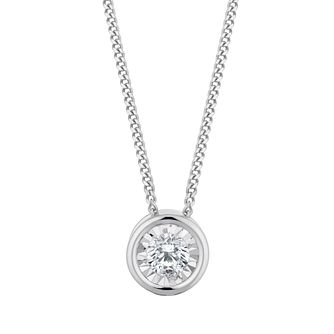 9ct White Gold 1/10ct Round Diamond Illusion Set Pendant - Product number 3057542