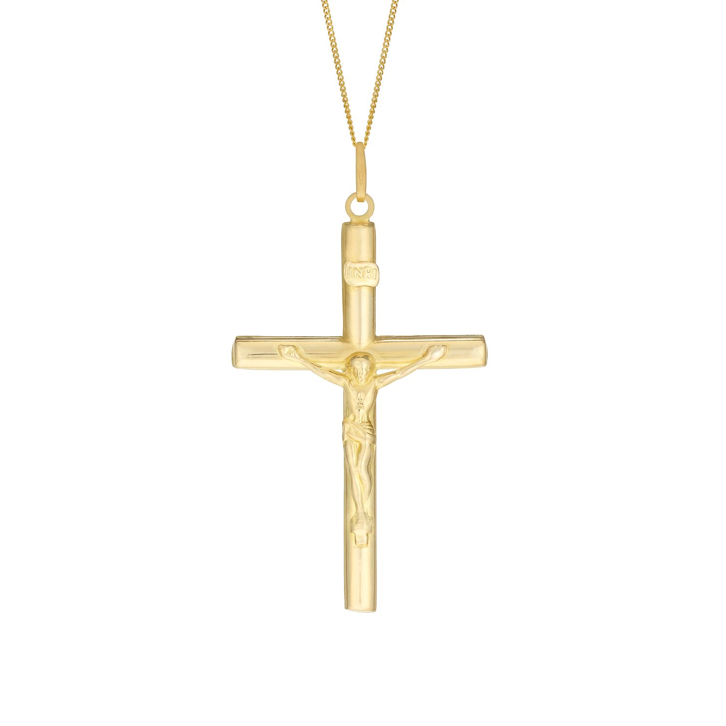 9ct Yellow Gold 20 inches Large Crucifix Pendant - Product number 3057623