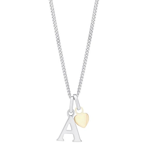 Silver & 9ct Yellow Gold Children's A Initial Pendant - Product number 3057909