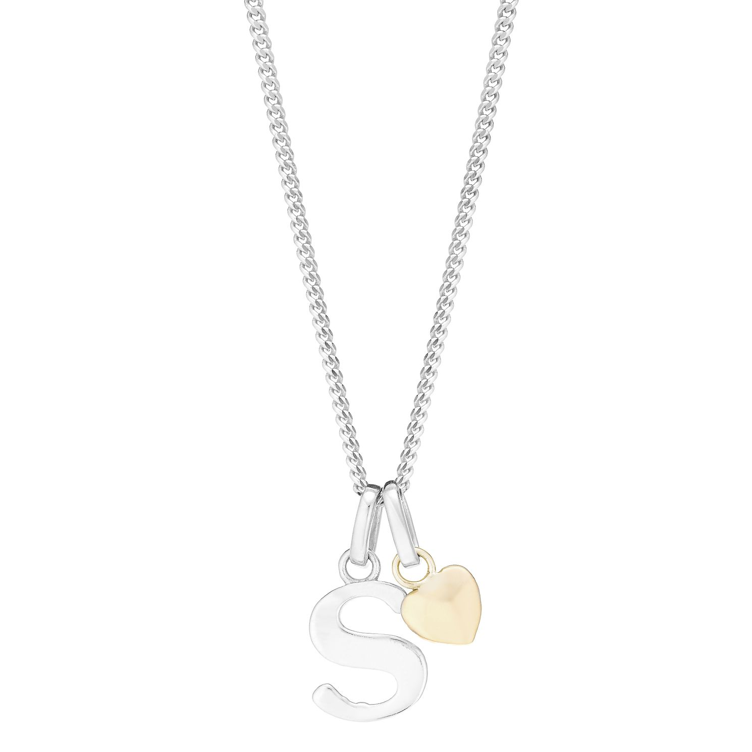 Silver & 9ct Yellow Gold Children's S Initial Pendant - Product number 3057917